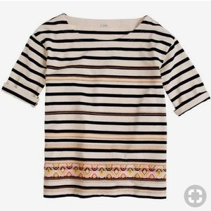 J.Crew Aztec Neon Embroidered Stripe Top